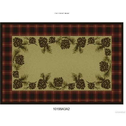 Goods of the Woods Cones Red Plaid Rectangular Vista Rug - 30 Inches x 50 Inches
